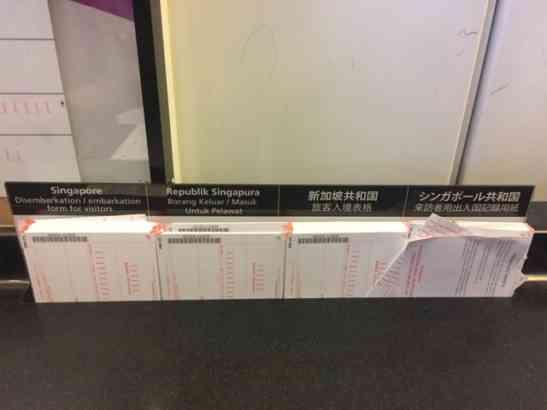各国語版シンガポール入国カード
